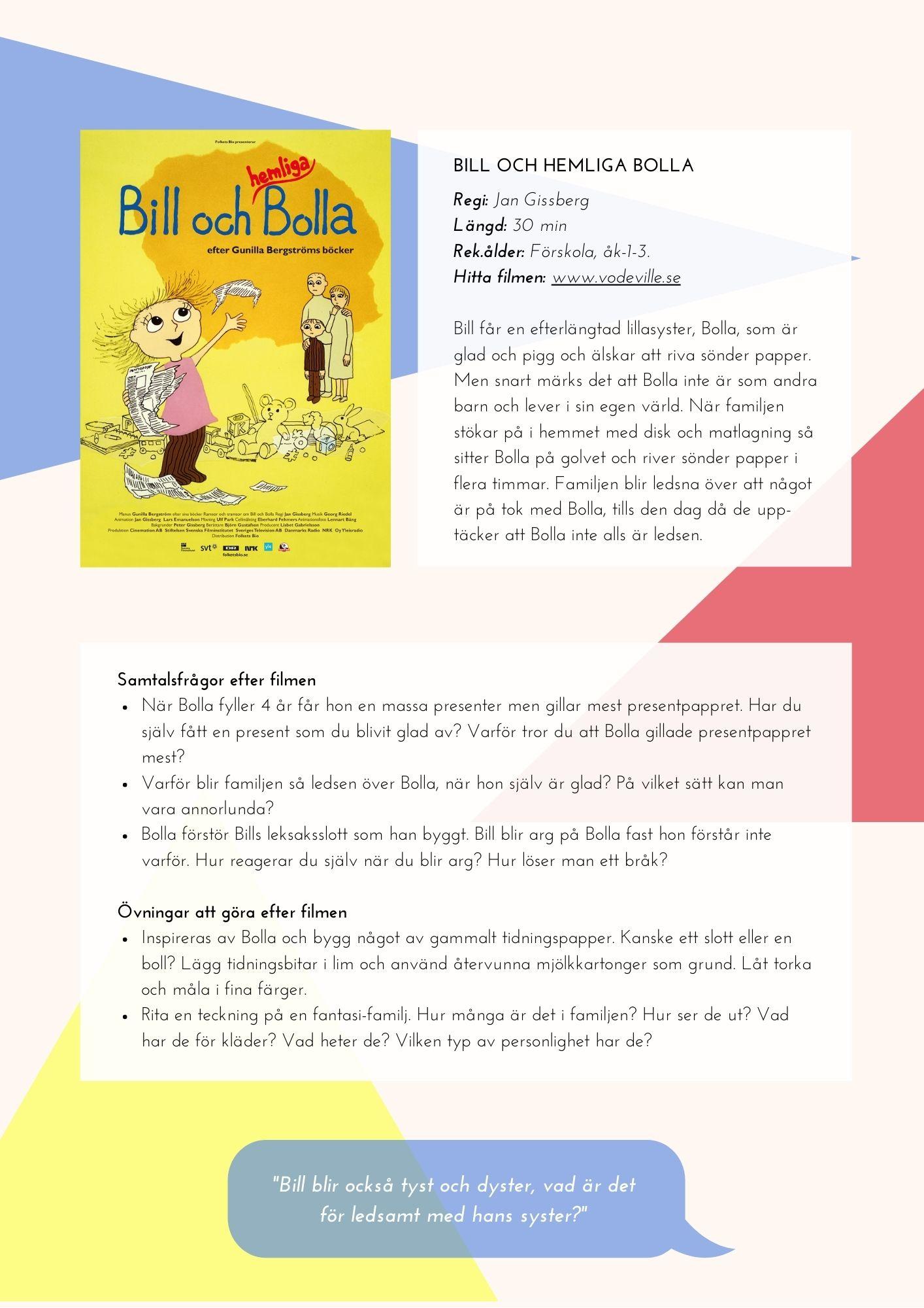 Informationssida för filmen Bill och hemliga Bolla