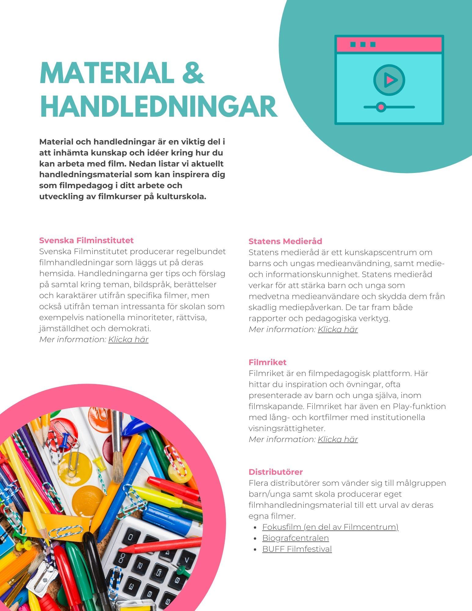 uppslag med text och bild på färgglatt skolmaterial