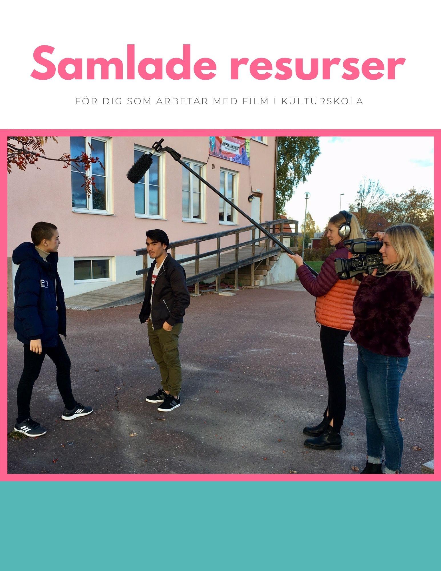 omslag med text och bild på fyra ungdomar som skapar film utomhus